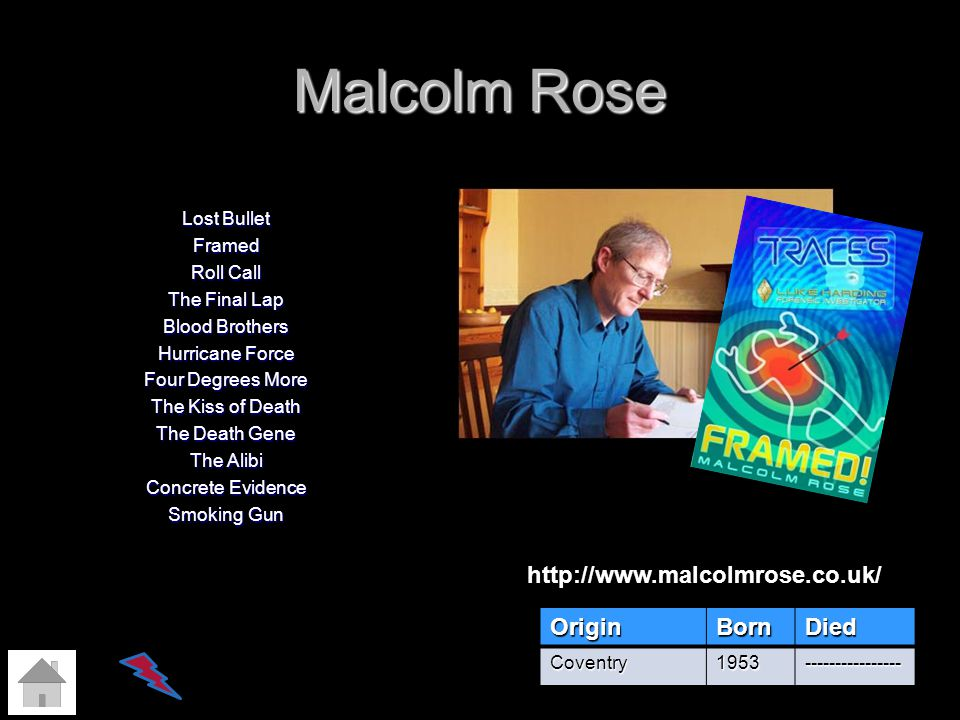 Malcolm Rose http://www.malcolmrose.co.uk/ Origin Born Died