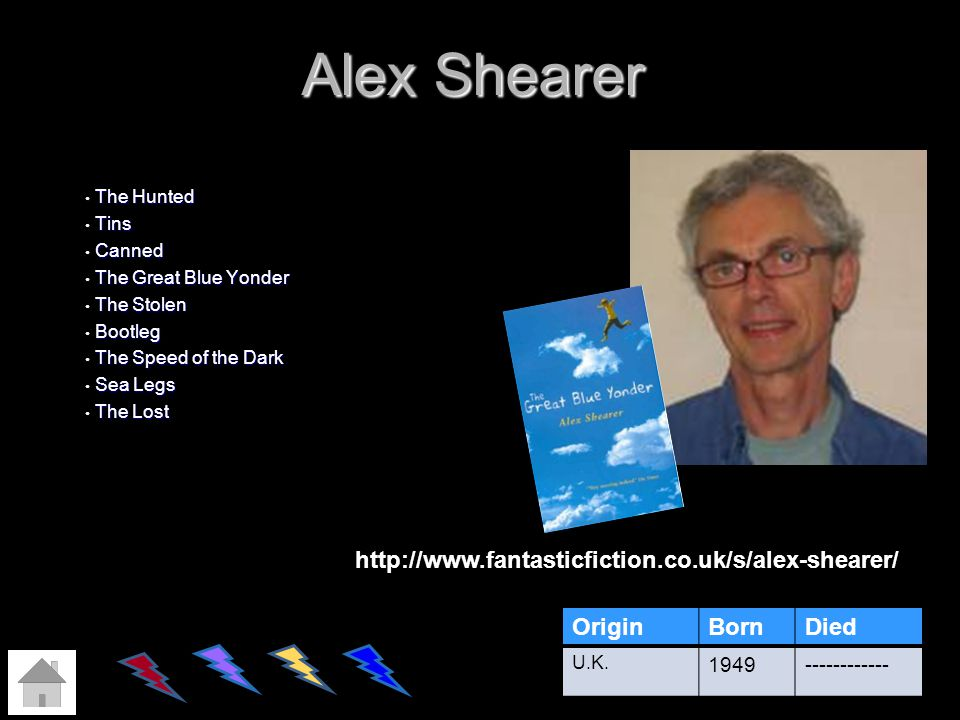 Alex Shearer http://www.fantasticfiction.co.uk/s/alex-shearer/ Origin