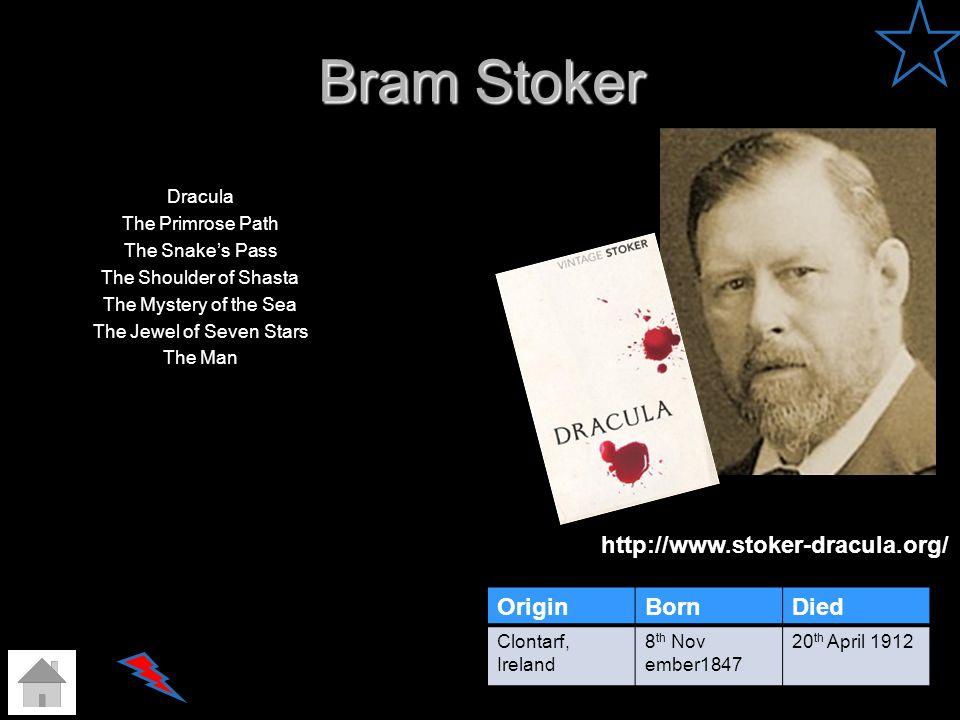 Bram Stoker http://www.stoker-dracula.org/ Origin Born Died