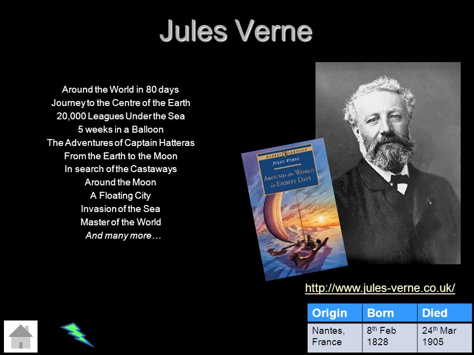 Jules Verne http://www.jules-verne.co.uk/ Origin Born Died