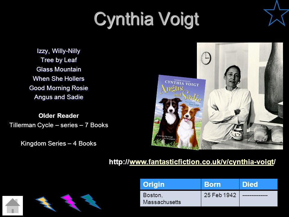 Cynthia Voigt http://www.fantasticfiction.co.uk/v/cynthia-voigt/