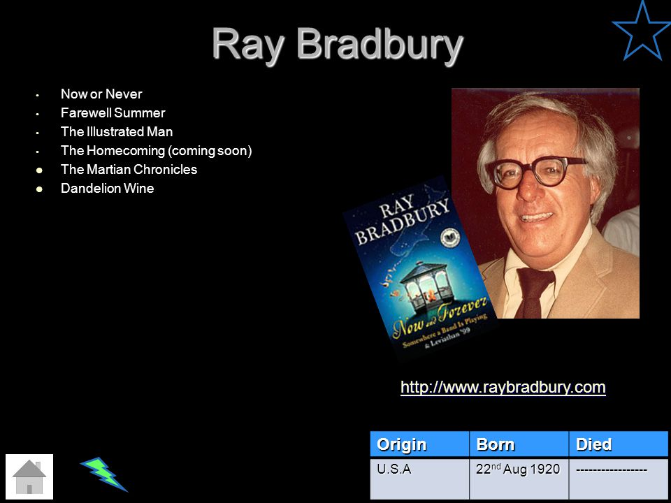 Ray Bradbury http://www.raybradbury.com Origin Born Died Now or Never