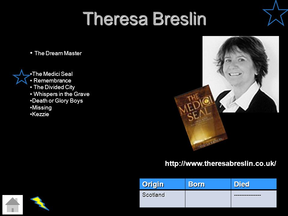Theresa Breslin The Dream Master http://www.theresabreslin.co.uk/