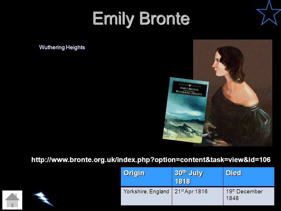 Emily Bronte Wuthering Heights. http://www.bronte.org.uk/index.php option=content&task=view&id=106.