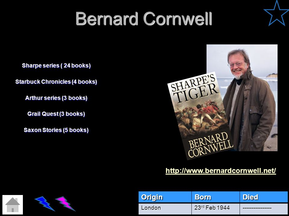 Bernard Cornwell http://www.bernardcornwell.net/ Origin Born Died