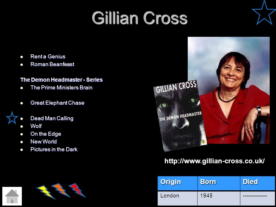 Gillian Cross http://www.gillian-cross.co.uk/ Origin Born Died