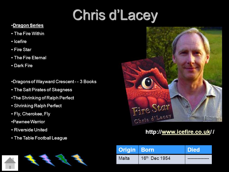 Chris d'Lacey http://www.icefire.co.uk/ / Origin Born Died