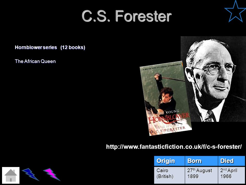 C.S. Forester http://www.fantasticfiction.co.uk/f/c-s-forester/ Origin