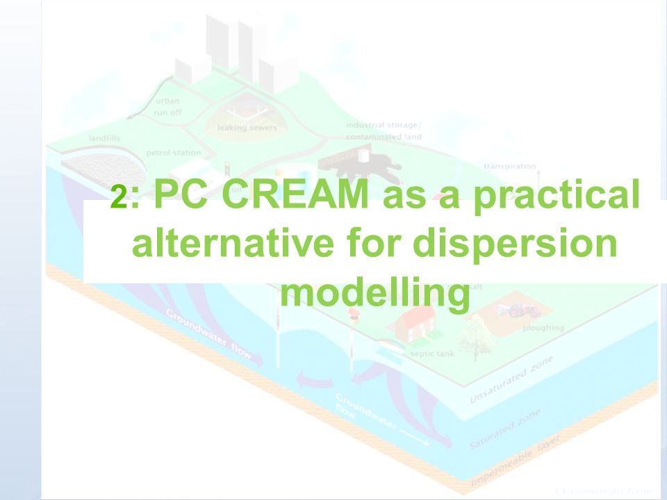 2: PC CREAM as a practical alternative for dispersion modelling