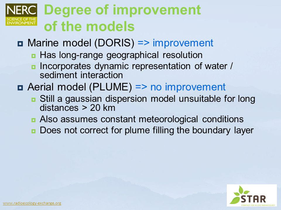 Degree of improvement of the models