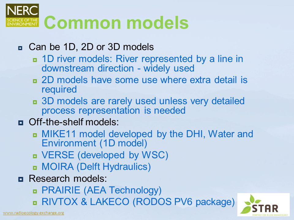Common models Can be 1D, 2D or 3D models