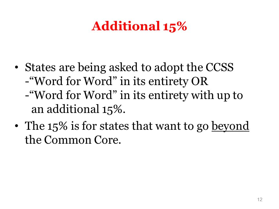 Additional 15% States are being asked to adopt the CCSS