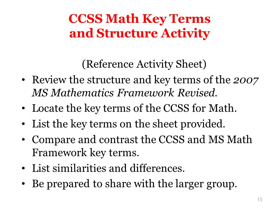 CCSS Math Key Terms and Structure Activity