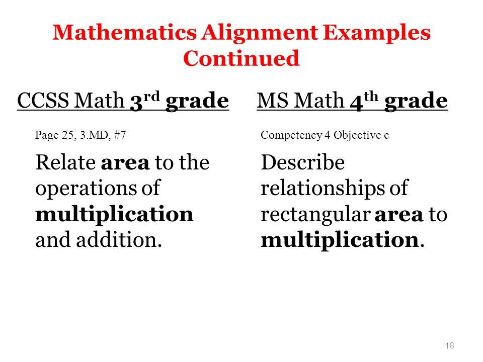 Mathematics Alignment Examples Continued