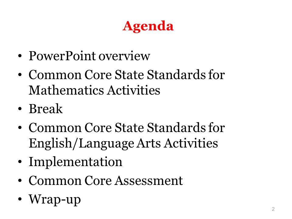 Agenda PowerPoint overview. Common Core State Standards for Mathematics Activities. Break.