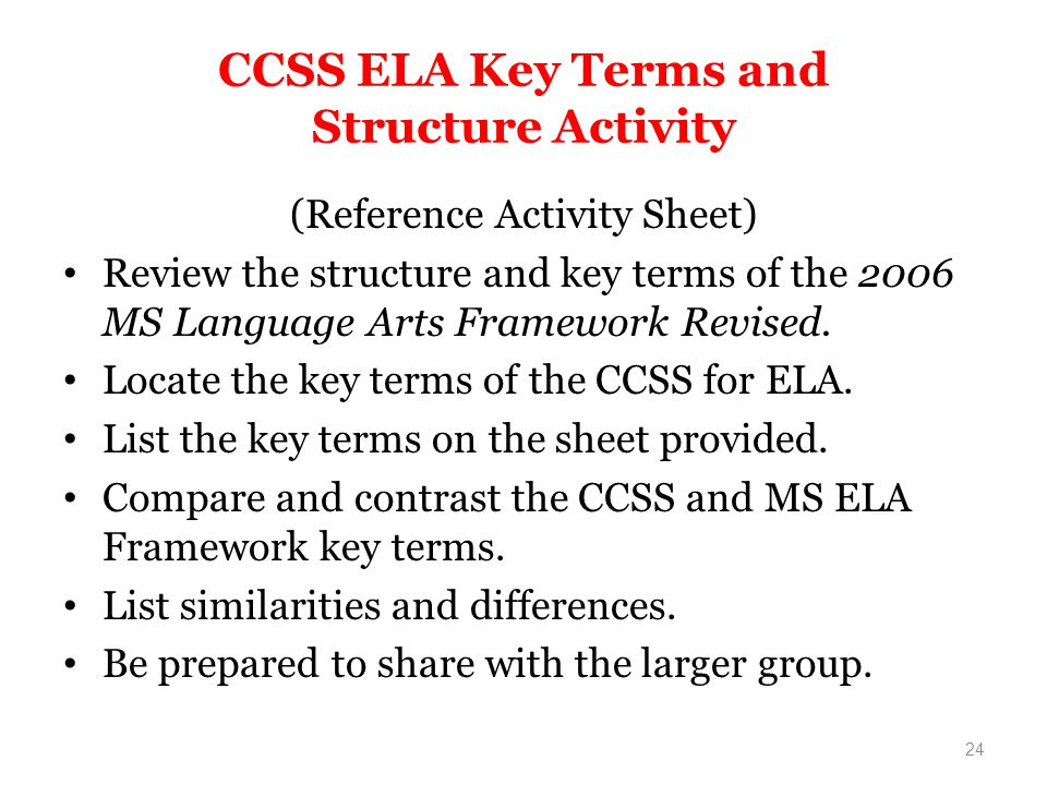 CCSS ELA Key Terms and Structure Activity