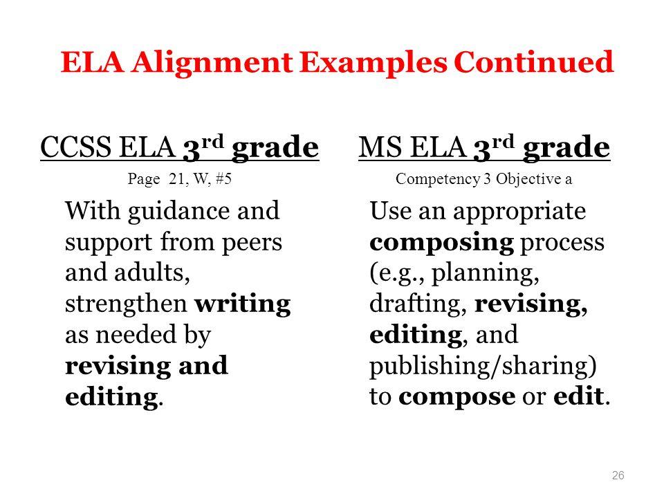 ELA Alignment Examples Continued