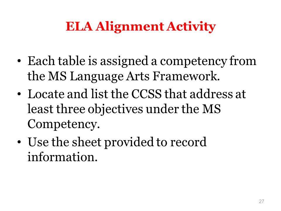 ELA Alignment Activity