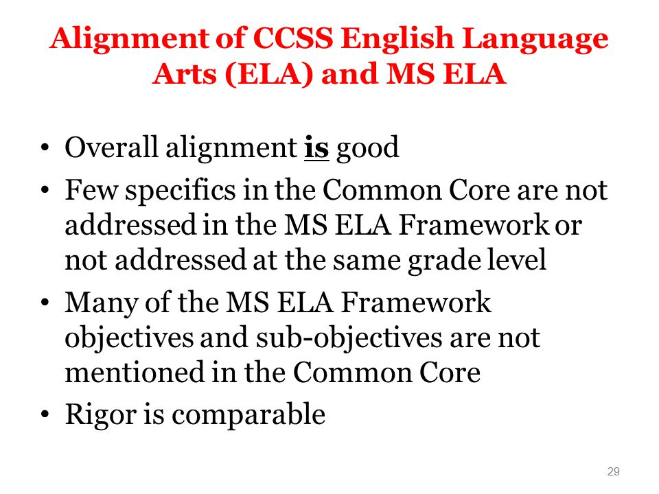 Alignment of CCSS English Language Arts (ELA) and MS ELA