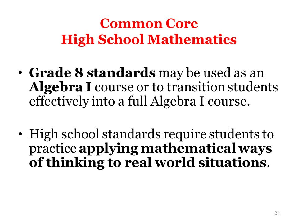 Common Core High School Mathematics
