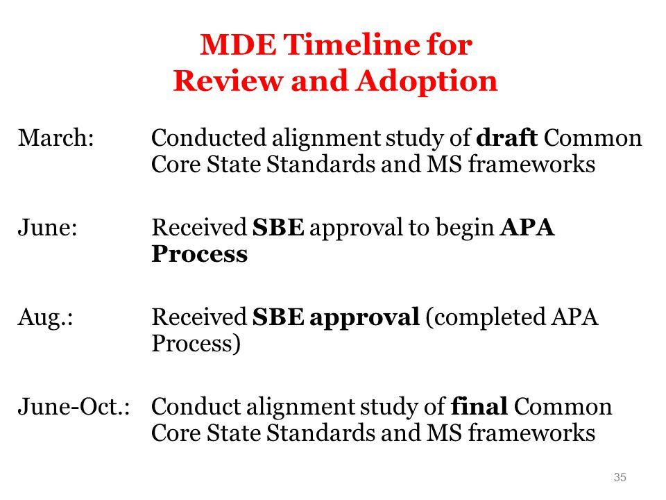 MDE Timeline for Review and Adoption