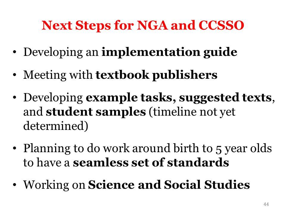 Next Steps for NGA and CCSSO
