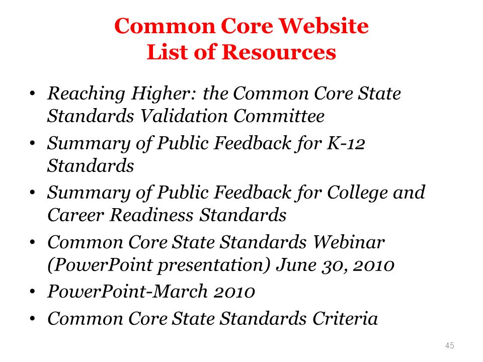 Common Core Website List of Resources