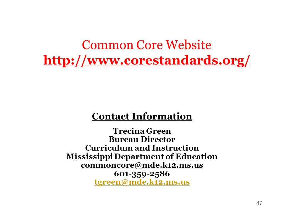 Curriculum and Instruction Mississippi Department of Education