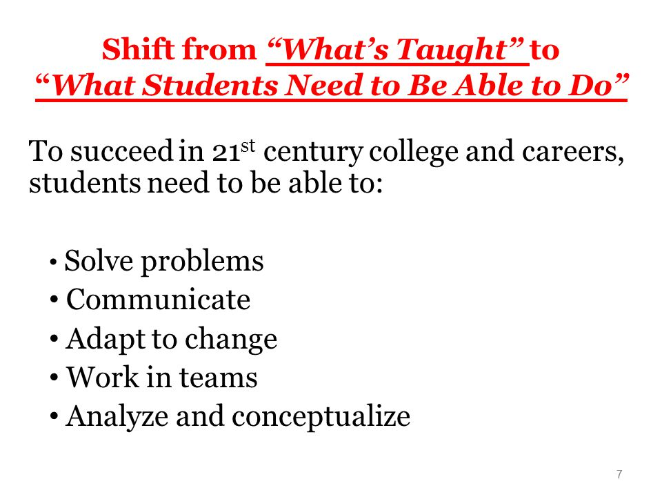 Shift from What's Taught to What Students Need to Be Able to Do