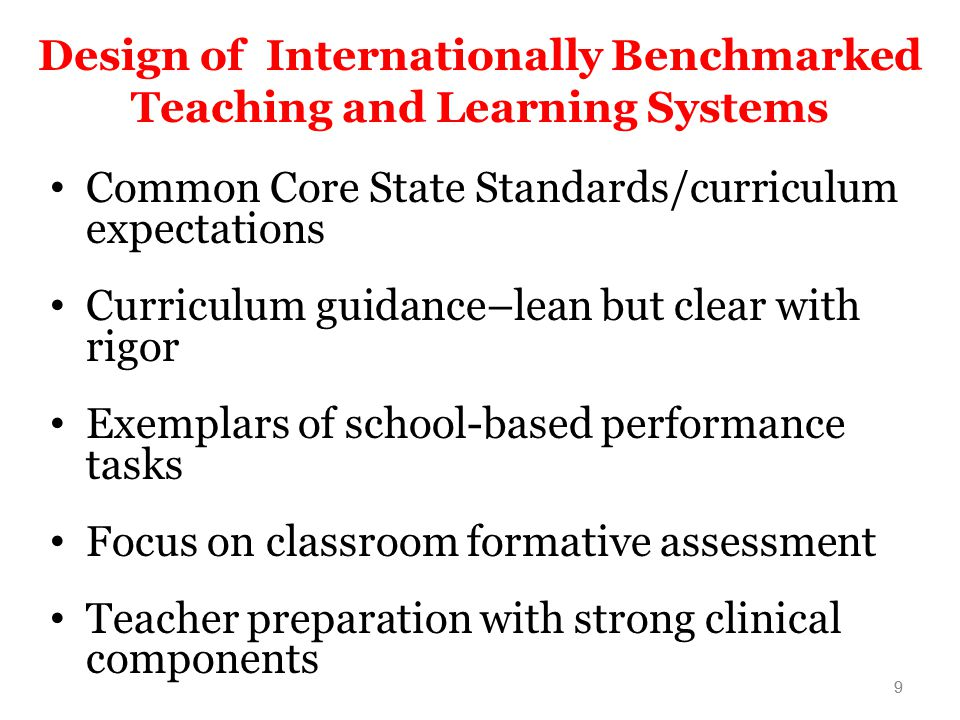 Design of Internationally Benchmarked Teaching and Learning Systems