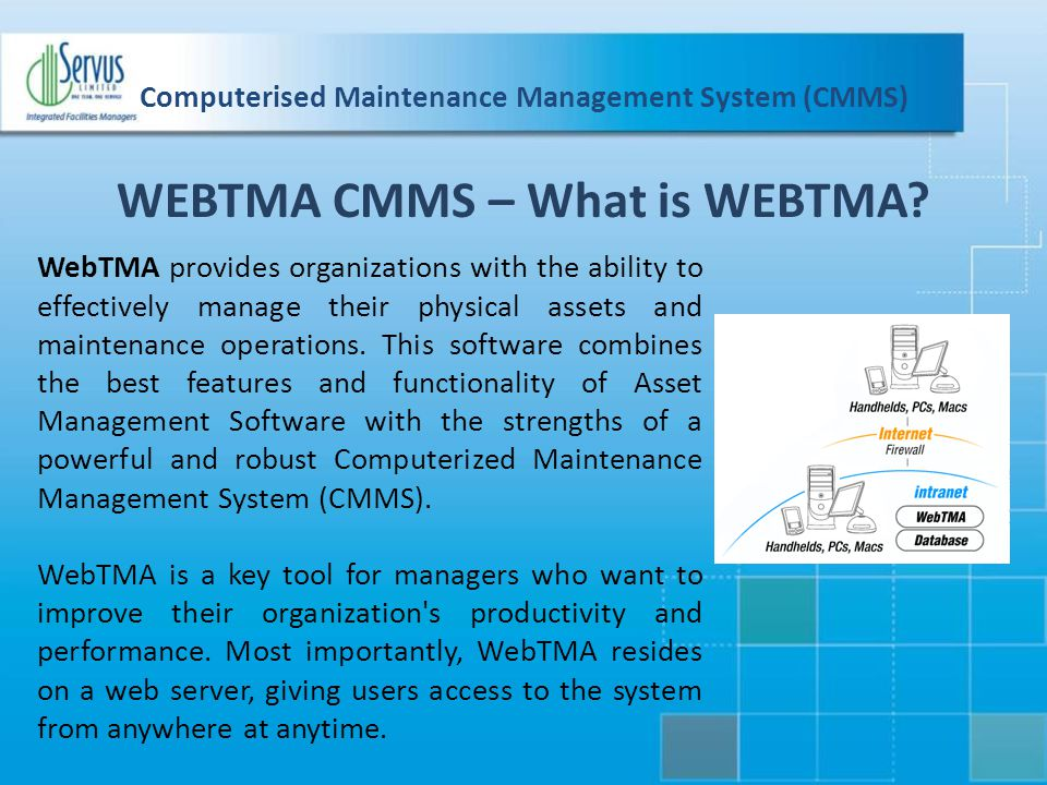 Computerised Maintenance Management System (CMMS)