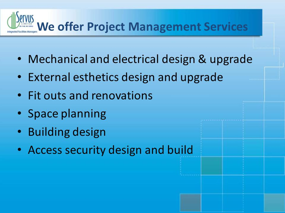 We offer Project Management Services