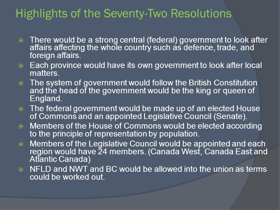 Highlights of the Seventy-Two Resolutions