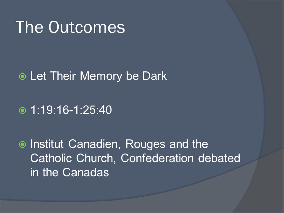 The Outcomes Let Their Memory be Dark 1:19:16-1:25:40