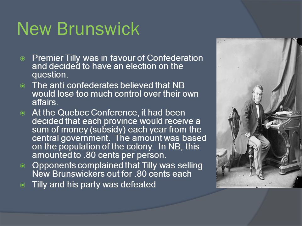 New Brunswick Premier Tilly was in favour of Confederation and decided to have an election on the question.
