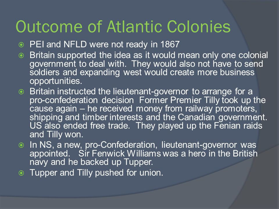 Outcome of Atlantic Colonies