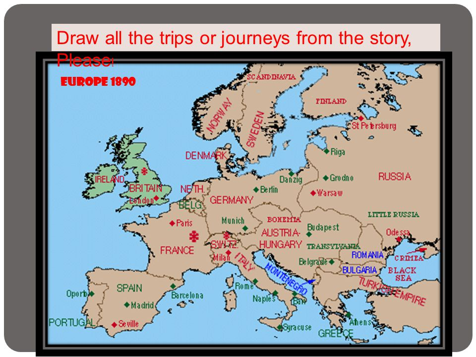 Draw all the trips or journeys from the story, Please!