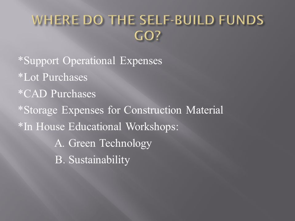 WHERE DO THE SELF-BUILD FUNDS GO
