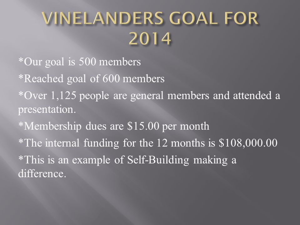 VINELANDERS GOAL FOR 2014