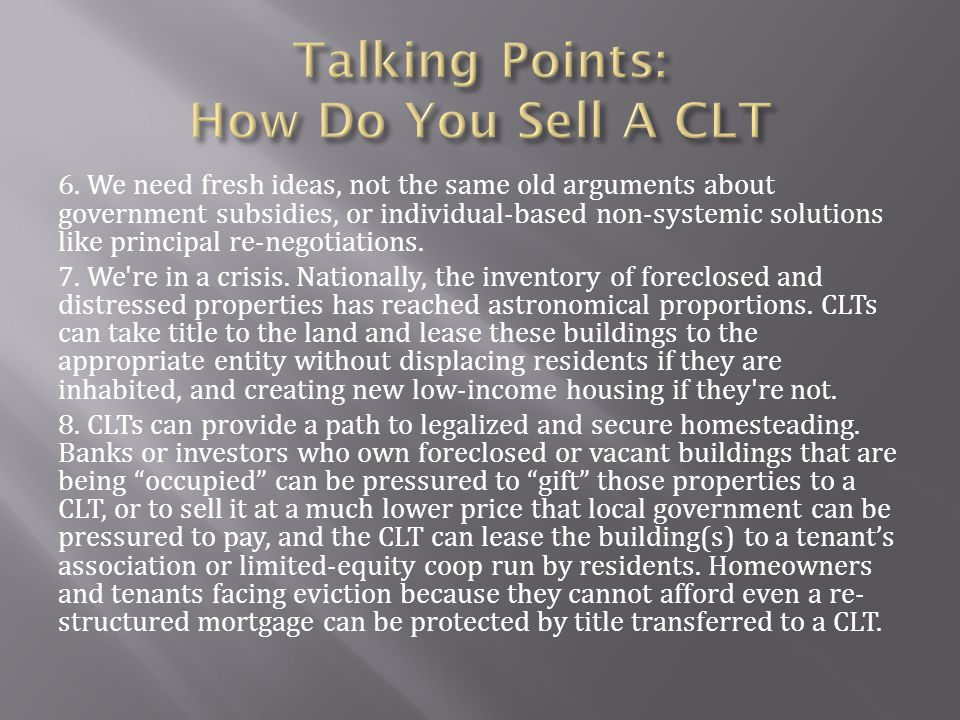 Talking Points: How Do You Sell A CLT