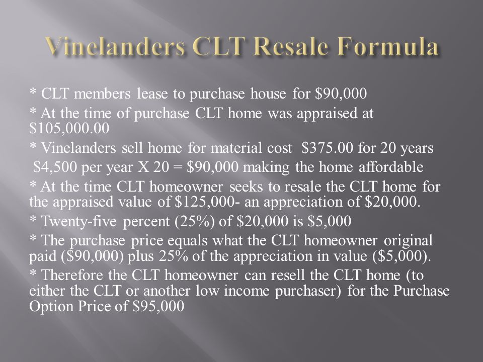 Vinelanders CLT Resale Formula