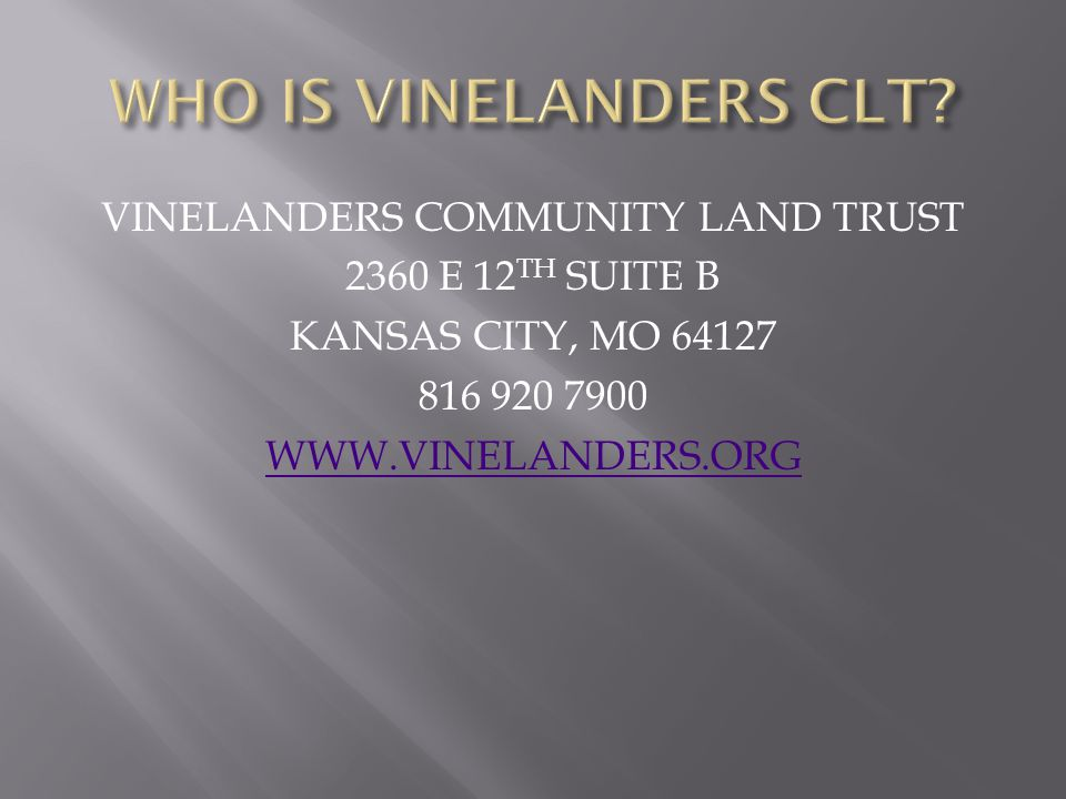 WHO IS VINELANDERS CLT.