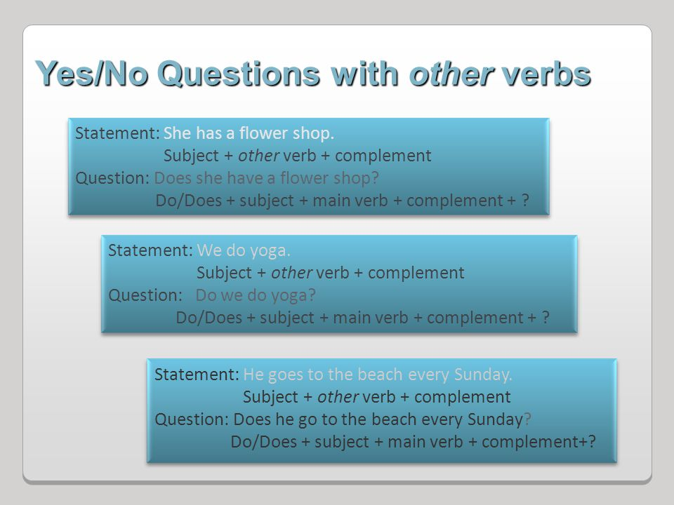 Yes/No Questions with other verbs