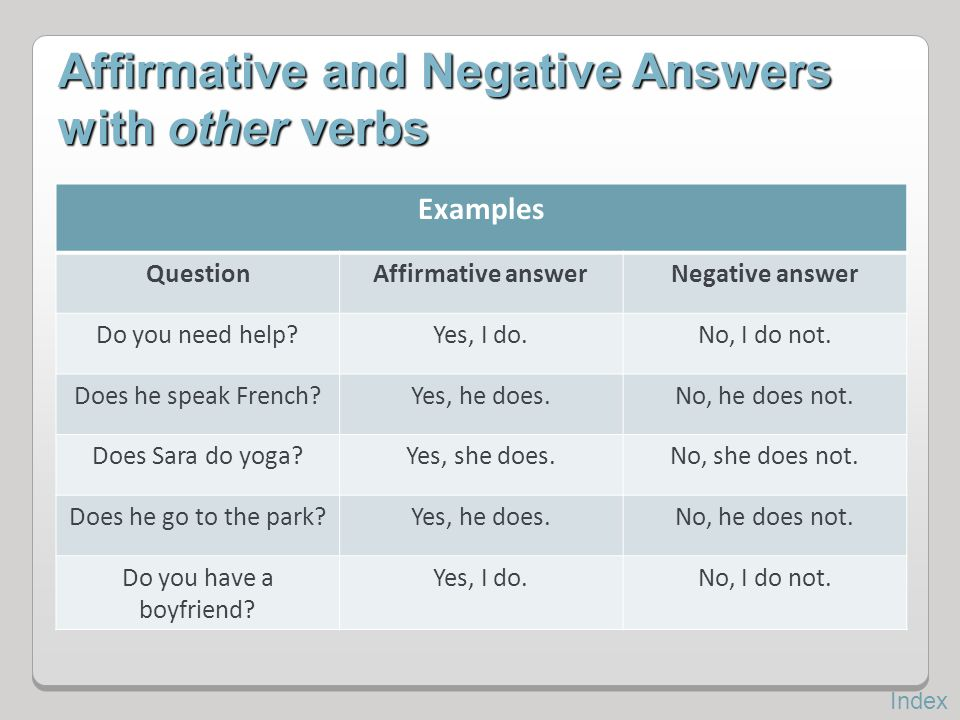 Affirmative and Negative Answers with other verbs