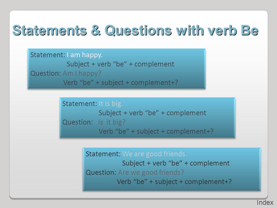 Statements & Questions with verb Be