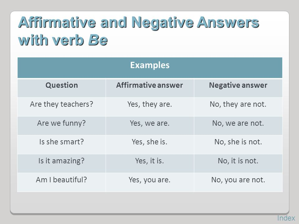 Affirmative and Negative Answers with verb Be