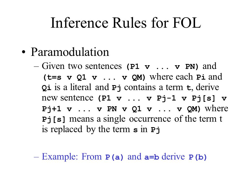 Inference Rules for FOL