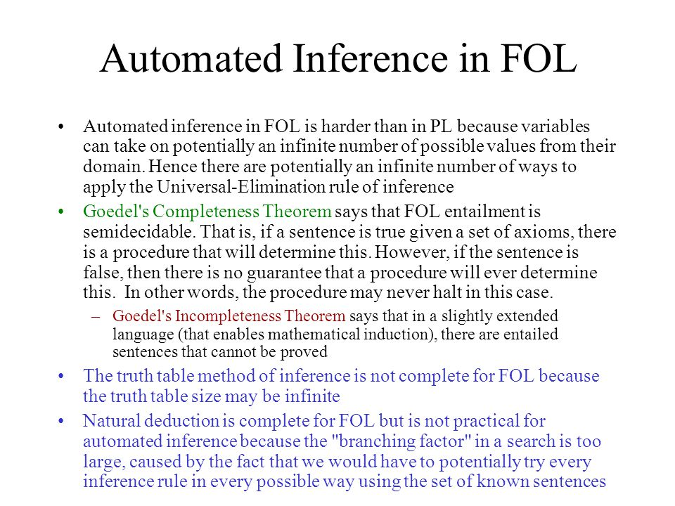 Automated Inference in FOL