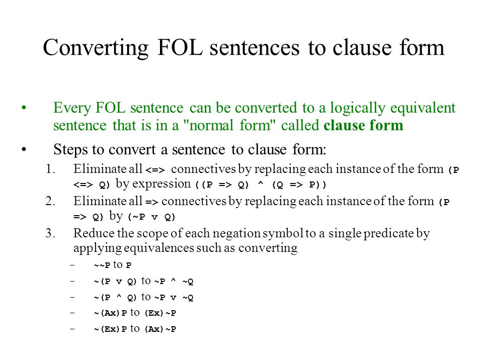 Converting FOL sentences to clause form
