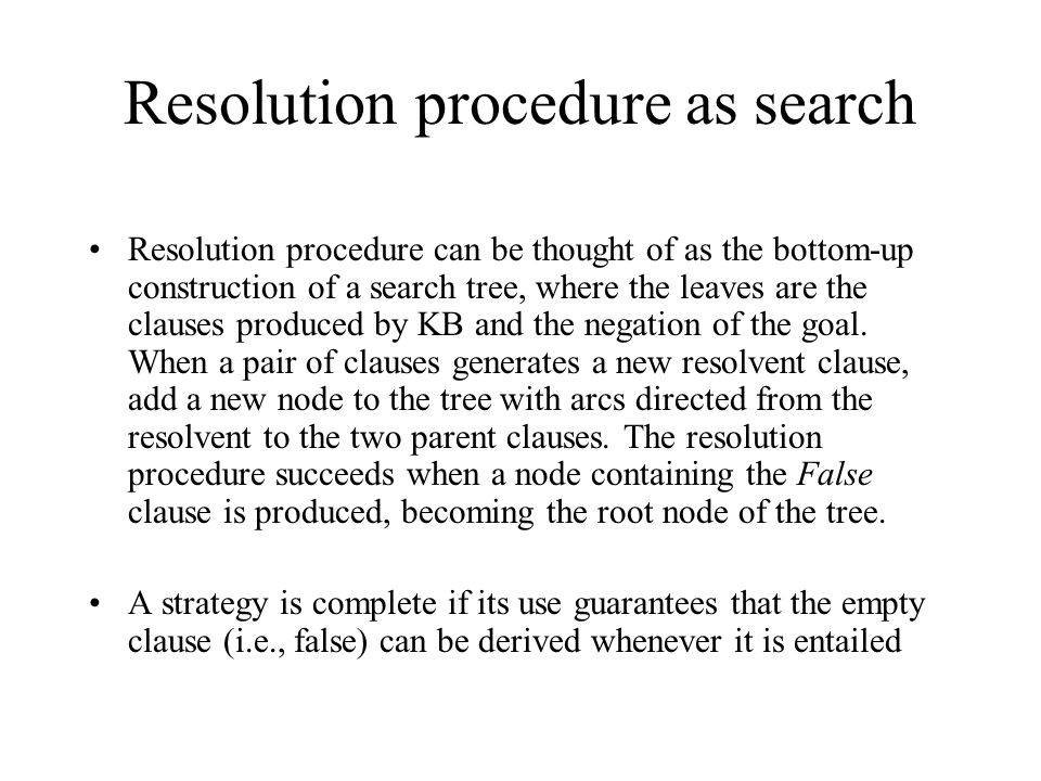 Resolution procedure as search